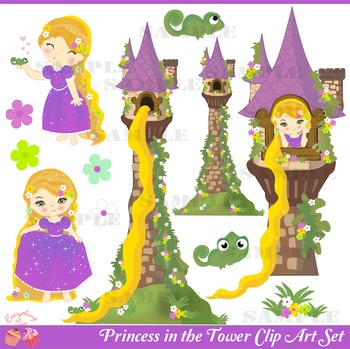 Princess in the Tower Rapunzel Clip Art Set