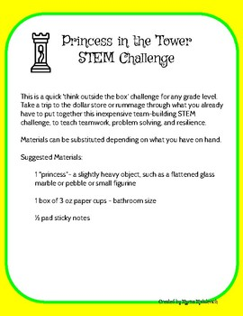 Princess in the Tower STEM Challenge