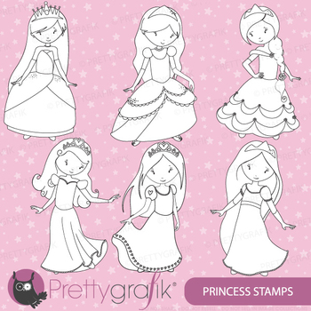 Princess stamps commercial use, vector graphics, images - DS457
