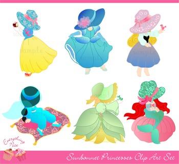 Princesses Princess Sunbonnet Clipart Set