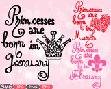 Princesses are born in January February March clipart Birthday Born baby 554s