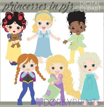 Princesses in Pajamas Clipart
