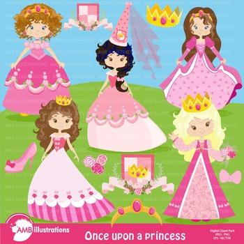 Princesses in Pink clipart, Princess clipart AMB-892