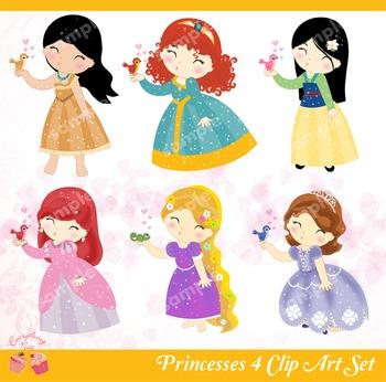 Princesses 4 Clip Art Set