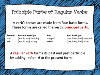 Principal Parts of Regular Verbs Task Cards, Board Game, and SCOOT