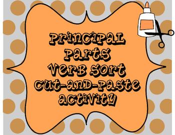 Principal Parts of Verbs Cut-and-Paste Sorting Activity