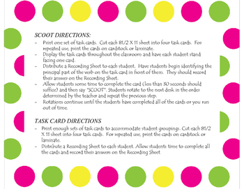 Principal Parts of Verbs Task Cards