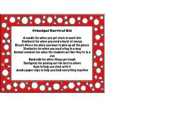 Principal and Assistant Principal Survival Kit Label