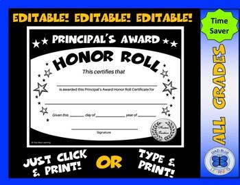 Principal's Award Honor Roll Certificate (Black/White Stars) - Editable
