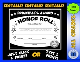 Principal's Award Honor Roll Certificate (Black/White Star