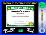 Principal's Award Honor Roll Certificate Gold Stars - Editable