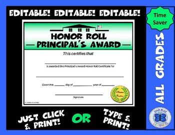 Principal's Award Honor Roll Certificate (Schoolhouse) - Editable