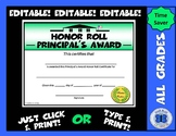 Principal's Award Honor Roll Certificate (Schoolhouse) - Editable
