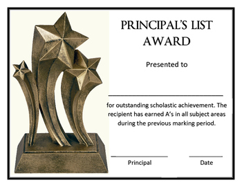 Principal's List Award Template