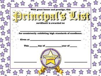 principals list certificates awards stars theme king virtue