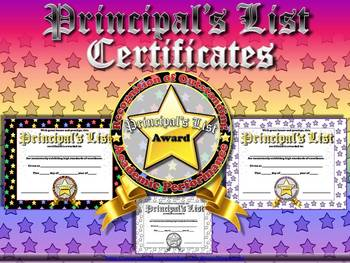 Principal's List Certificates - Awards - Stars Theme - Kin