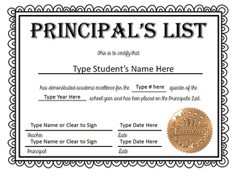 Principal's List Certificates (Quarter/Semester/Year) - NOW EDITABLE