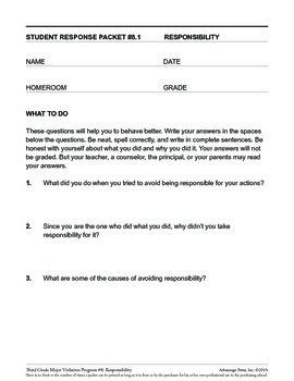 Principal's Resource: 3rd Grade Behavior Improvement: Responsibility