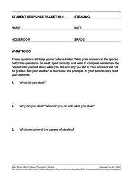 Principal's Resource: 3rd Grade Behavior Improvement: Stealing
