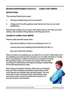 Principal's Resource: 3rd Grade Behavior Improvement: Temper