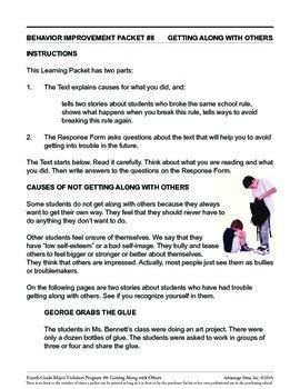 Principal's Resource: 4th Grade Behavior Improvement: Get Along