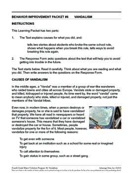 Principal's Resource: 4th Grade Behavior Improvement: Vandalism