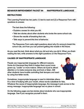 Principal's Resource: 5th Grade Behavior Improvement: Bad Language