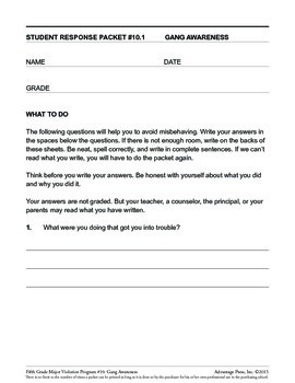 Principal's Resource: 5th Grade Behavior Improvement: Gangs