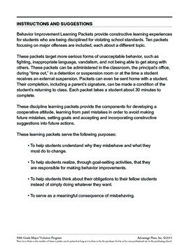 Principal's Resource: 5th Grade Behavior Improvement: Getting Along