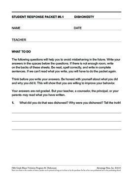 Principal's Resource: 5th Grade Behavior Improvement: Honesty