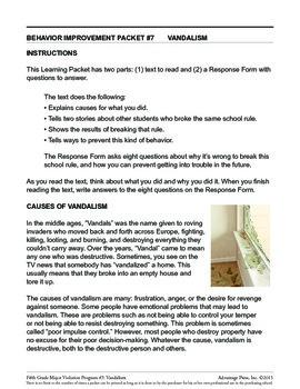 Principal's Resource: 5th Grade Behavior Improvement: Vandalism