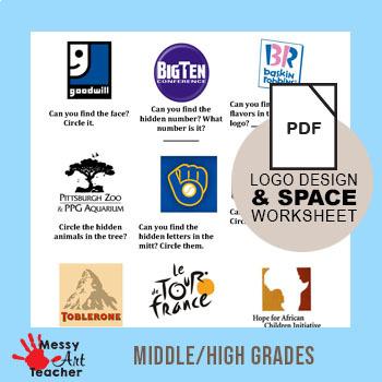 Principle of Art SPACE logo worksheet by MessyArtTeacher | TpT