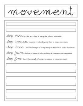 Principle of Design, Movement, Review Activity: Movement Fill it in Worksheet