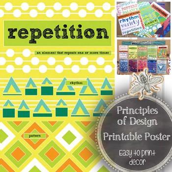 Principle of Design, Repetition, Printable Poster: Art Classroom Word Wall