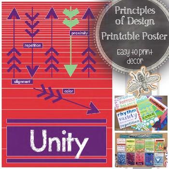 Unity, Principles of Design Printable Poster, Your Visual Art Classroom Decor