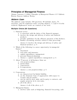 Principles of Managerial Finance, Midterm Exam