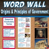 Origins and Principles of U.S. Government Word Wall Poster