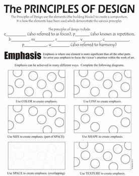 principles of art design worksheets usa color by artsycat tpt