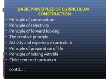 Principles of Curriculum Construction