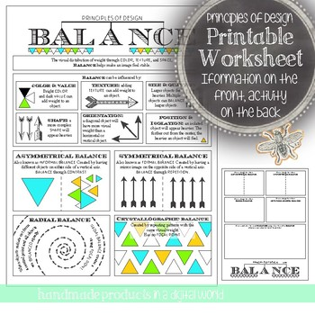 Principles of Design, Balance: Middle or High School In Class Art Activity