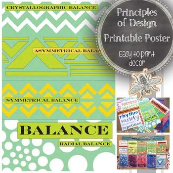 Principles of Design (Balance) Printable Poster: Art Education Word Wall