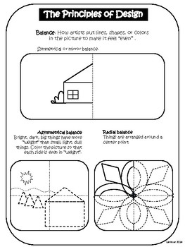 Balance (Principles of Art/Design) Worksheet | Worksheets, Art ...