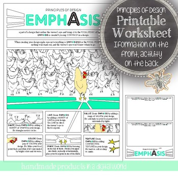 Principles of Design, Emphasis, Worksheet: Middle and High School Art Activity
