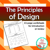 Principles of Design - Half Page Worksheets for Introducti