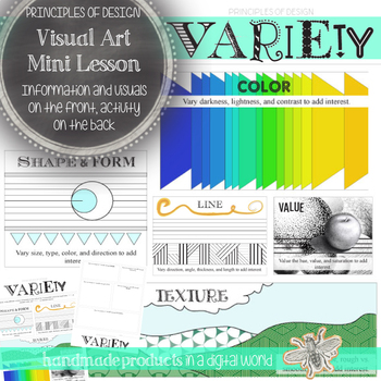 Principles of Design Minilesson: Visual Art Variety Worksheet and Activity