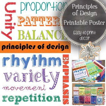 Principles of Design Printable Poster: Art Education Word Wall