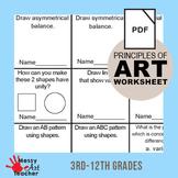 Principles of Design Worksheet Activity 3rd-12th Grades
