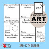 Principles of Design Worksheet Activity 3rd-12th Grades