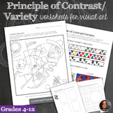 Principles of Design Worksheets - Principle of Contrast & Variety Mini-Lessons