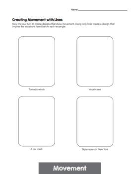 Principles of Design Worksheets - Principle of Movement & Movement Mini-Lessons
